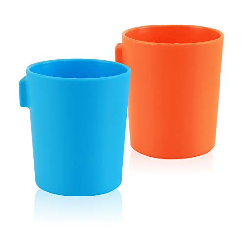 eZtotZ EZCUP Magnetic Hanging Fridge Plastic Cups for Toddlers, Kids, and Adults - Made in USA - Drinking Cups for Independent Drinkers on Fridge or Watercooler - Less Dishes - BPA Free (Blue/Orange)