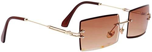 Inzopo Vintage Rechteckige Sonnenbrille Randlose Sonnenbrille Rechteckige Rahmenlose Sonnenbrille Randlose Rechteckige Sommersonnenbrille Retro Herren Damen Sonnenbrille Mode Sonnenbrille