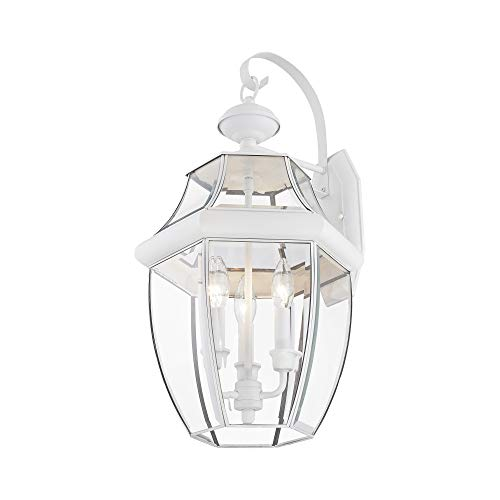 Livex Lighting 2351-03 Outdoor Wall Lantern with Clear Beveled Glass Shades, White