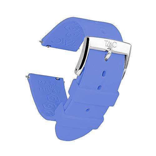 TAAC MOONO Repuesto en Correa para Relojes y Smartwatch, Made in Italy en Silicona Médica Hipoalergénica, 20mm o 22mm, Compatibilidad Universal, Easy Click - Liberación Rápida, Modelo Spring Sky