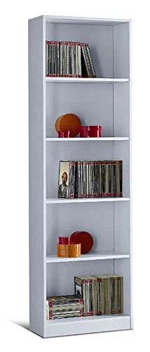 Valentini Eco Libreria 5 Vani, Legno, Bianco, 21x55x174 cm