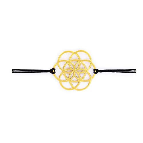 Unbekannt Armband Freundschaftsband Samen des Lebens aus Silber goldplattiert mit elastsichem Textilband
