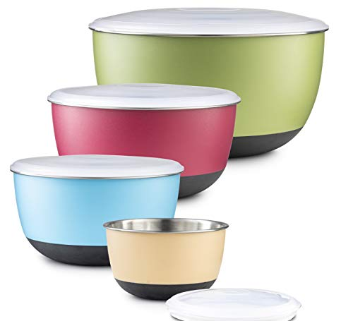 Premium Stainless Steel Mixing Bowls with Non-Slip Bottoms For Cooking and Food Storage, Set of 5