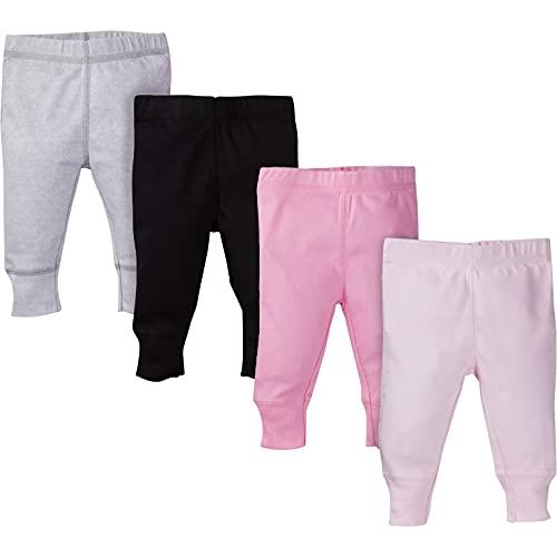 Gerber Baby Girls' 4-Pack Pants, pink/black/gray, 3-6 Months