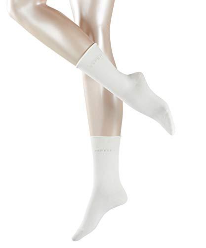 ESPRIT Damen Socken Basic PURE 2er Pack - 91% Baumwolle , 2 Paar, Weiß (Off-White 2040), Größe: 39-42