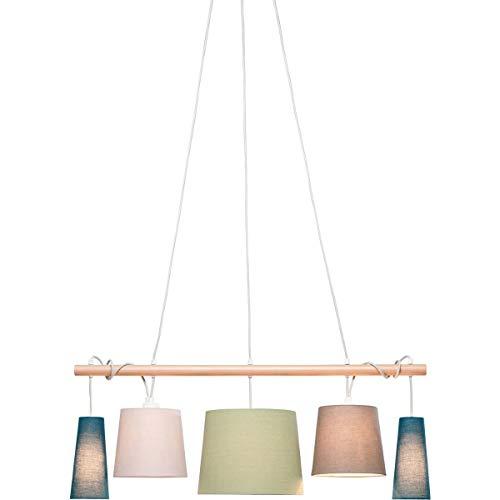 Kare Parecchi Nordic Suspension design 100 cm Abat-jour 90 % polyester, 10 % lin, polystyrène, barre en bois de frêne massif laqué, multicolore