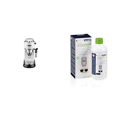 DeLonghi Dedica EC 685.W Espresso Siebträgermaschine | 15 bar | Professionelle Milchschaum Düse | Weiß + EcoDecalk SER3018 Entkalker | Universal Kalklöser für 4 Entkalkungsvorgänge