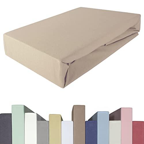 Edda Lux Sábana bajera ajustable para colchones de hasta 40 cm de alto, algodón de calidad premium, 5% elastano, 190 g/m², para 140 x 200, 160 x 200, 160 x 220 cm