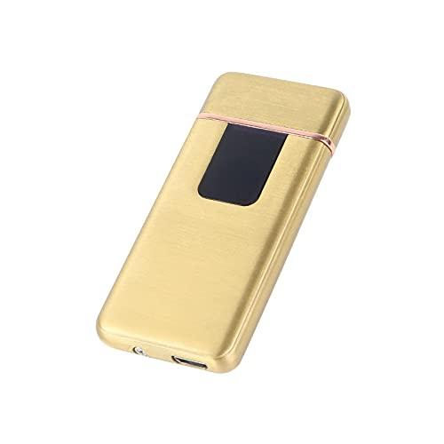 USB-Feuerzeug mit Fingerabdruck-Induktion, wiederaufladbar, ultradünn, männlich, flammenlos, elektrisch, für Männer, C-Golden
