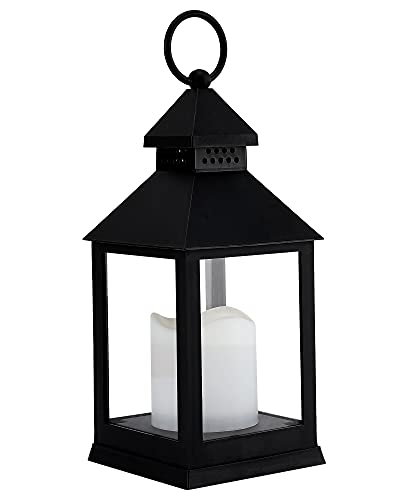 10.82'Tall Decorative Candle Lantern ( Black)with LED Flickering Flameless Candles-Outdoor &Indoor Hanging Decor Lantern LED - Decorative Lanterns Battery Powered(battery excluded)