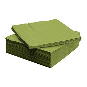 Ikea FANTASTISK Papierserviette, 50 Stück, Papier, Mittelgrün, 40 x 40 cm, Einheiten