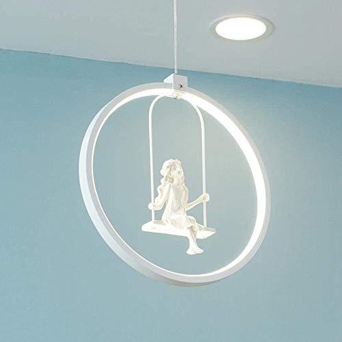 Office kroonluchter Meisje Swing LED Hanglamp modern en minimalistisch Hanglamp Acryl Ring decoratieve Opknoping Light Design Chandelier Bedroom Lamp Eettafel Woonkamer Eettafel aantal Lamp Onderzoek