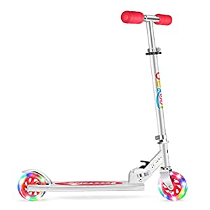 Beleev V1 Scooters for Kids 2 Wheel Folding Kick Scooter for Girls Boys, 3 Adjustable Height, Light Up Wheels for Children 4 Years and up (Red)