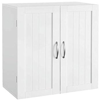 White Wall Mounted Wooden Kitchen Cabinet Bathroom Shelf Laundry Mudroom Garage Toiletries Medicines Tools Storage Organizer Cupboard Unit Ample Storage Space Solid Construction Stylish Modern Design