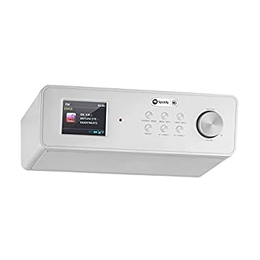 auna KR-200 SI Internet Kitchen Radio Spotify Support Broadband Speaker TFT Color Display Remote Control FM Tuner Wi-Fi AUX 10 Station Presets Silver