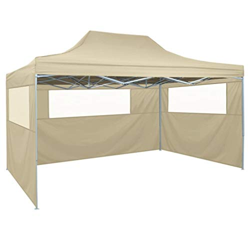 Lechnical Professional party tent Foldable with 3 side walls Gazebo Garden pavilion Waterproof UV protection pavilion for garden patio celebration 3×4m steel cream