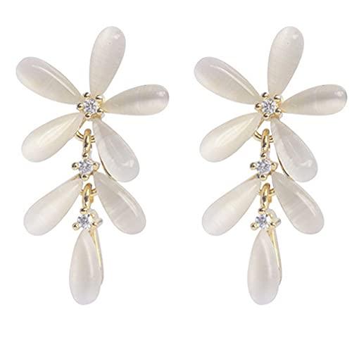 Hanone Pendientes de Mujer de Lujo Estilo Flor Femenina Pendientes Largos Colgantes joyería de Regalo Oro y Blanco