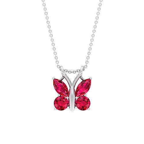 Collar de mariposa de rubí de 2,80 quilates, forma marquesa, colgante de piedra preciosa roja, corte redondo de julio, 18K Oro blanco Con cadena