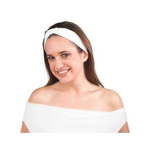 Sinelco - Diadema de algodón de rizo, color blanco