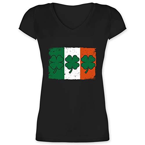 St. Patricks Day - Irische Flagge mit Kleeblättern - 3XL - Schwarz - Statement - XO1525 - Damen T-Shirt mit V-Ausschnitt