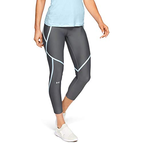 Under Armour UA HG Armour Ankle Crop Edgelit Capri, Mujer, Gris (Pitch Gray/Coded Blue/Metallic Silver 012), XS