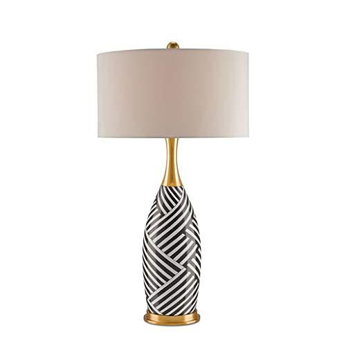 WFS Klassik Tischlampe Zebra-Streifen Tischlampe Leinenschirm Schreibtischlampe for Wohnzimmer Familien Schlafzimmer Nachttischlampe Lesen Lamp (Quantity : 1, Größe : Large)