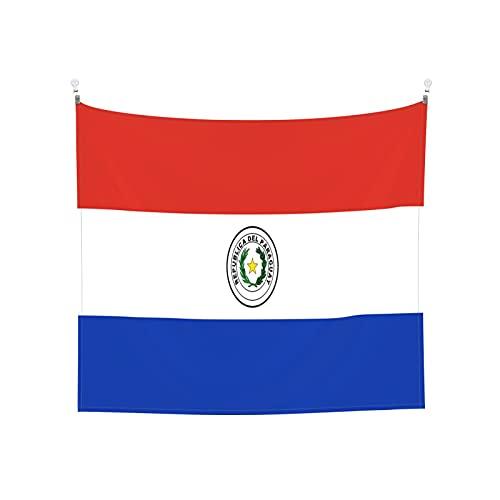 Tapisserie Flagge von Paraguay, Wandbehang, Tarot-Boho, beliebte mystische Trippy-Yoga-Hippie-Wandteppiche für Wohnzimmer, Schlafzimmer, Wohnheim, Heimdekoration, schwarz & weiß Stranddecke