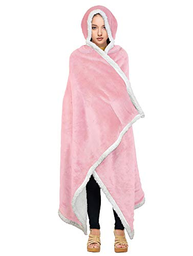 Tirrinia Sherpa Hooded Blanket Wearable Cuddle Throw Warm Cozy Sherpa Lining 47'x73'/ Sherpa Throw Blanket/Solid Flannel/