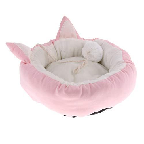 perfk Hundebett Katzenbett Katzensofa Plüsch Haustier Bett Kissen für Kleine Hunde und Katzen, Innendurchmesser 23cm - Rosa