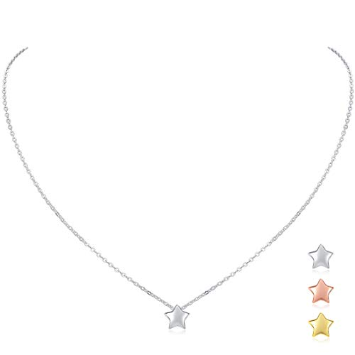 ChicSilver Women Star Necklace 925 Sterling Silver Small Star Pendant Necklace Dainty Simple Charm Necklace Jewelry Gift, 16''