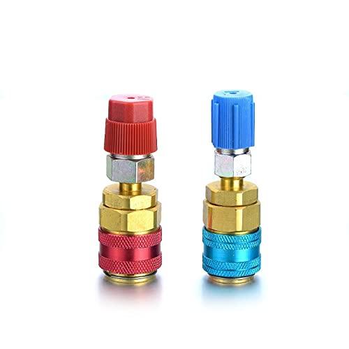 Ajustable Acoplador Rpido 2pcs auto coche alto y bajo R134A Adaptadores de acoplamiento rápido Aire acondicionado Ajuste Herramientas refrigerantes (Color Name : Red and Blue)