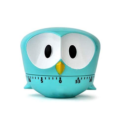 Xiton 1 StüCk Niedlichen Cartoon Owl Timer Mini 60 Minuten Mechanische KüChe Kochen Timer Uhr Laut Alarm ZäHler Manuelle KüChe Timer (Blau)