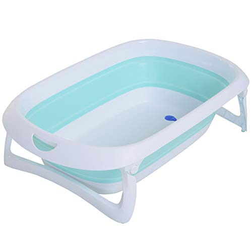 HOMCOM Badewanne für Babys Ergonomische Kunststoff Babywanne rutschfest klappbar 80 x 48 x 21 cm Hellgrün