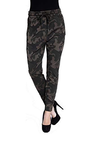 Zhrill Damen Joggpant Stoffhose Anzugshose Tapered Cropped Slim Fit Fabia, Größe:S, Farbe:N8177 - Olive