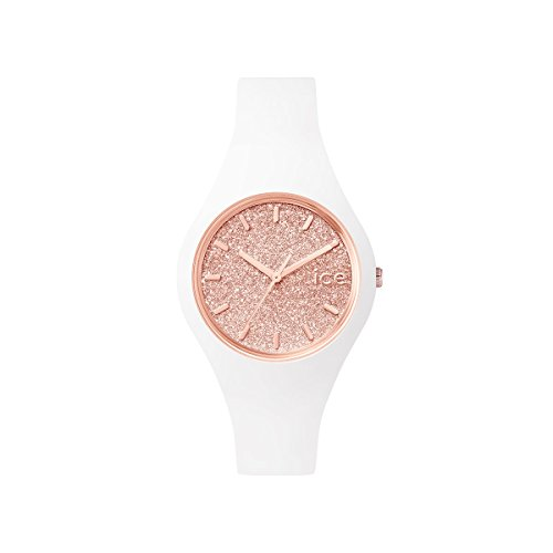 Ice-Watch - Ice Glitter White Rose-Gold - Montre Blanche pour Femme avec Bracelet en Silicone - 001343 (Small)