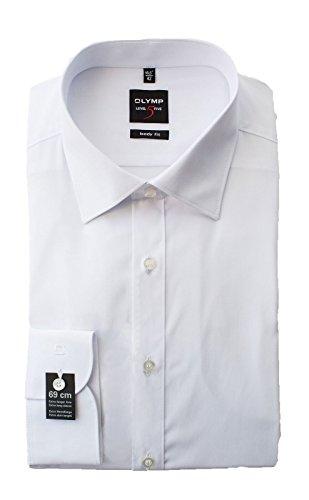 OLYMP Hemd Level 5 Five, Weiß, Body Fit, Extra Langer Arm 69cm, Bügelleicht, Comfort Stretch, New York Kent (40)