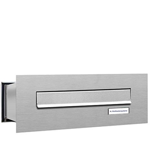 AL Briefkastensysteme 1er Durchwurfbriefkasten, 1 Fach Briefkasten DIN A4, wetterfeste Briefkastenanlage aus V2A Edelstahl