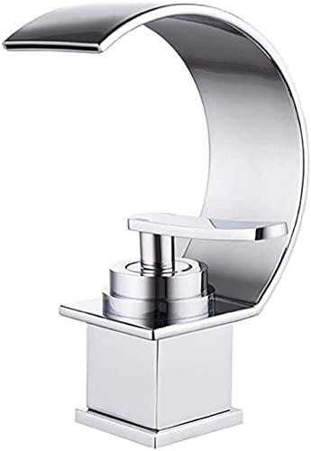 Cascada Grifo de lavabo Grifo de baño Encimera Grifo de lavabo Grifo mezclador de una sola palanca Grifo de baño para baño Hecho de latón