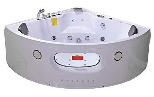 Bañera hidromasaje esquina jacuzzi masaje acrílico bañera de dos plazas ducha jet doble extremo LED Radios esterilización ozono Home SPA 155x155x66 cm 2 años de garantía