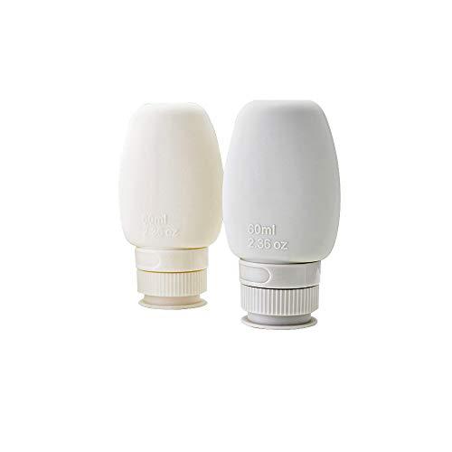 トラベルボトル シャンプーボトル 携帯用 60ml/80ml 漏れ防止 小分け容器シリコン製 小分けボトル 旅行用 調整可能なラベル (ホワイト, L)