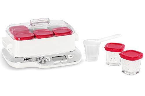Seb Compacte - Yogurtera multidelicada (6 tarros, metal), color blanco 6 frascos - Rojo rojo y blanco