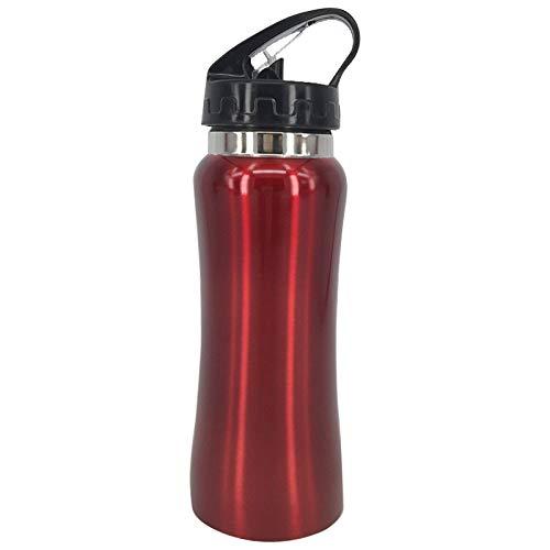 XGQ 500ml Taza for Deportes saludables al Aire Libre Taza Curva de Acero Inoxidable de una Sola Capa con Paja y Cuerda (Plata) (Color : Red)