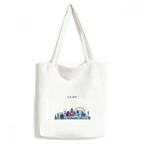 Bolsa de lona azul ecológica para compras, artesanato lavável