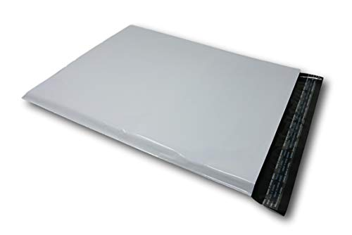 Lot de 50 Enveloppes plastique blanches opaques A3 350 x 450 mm,pochettes dexpédition 35x45 cm 60 microns. Enveloppe fine 22g haute résistance, légère, solide, inviolable et imperméable.