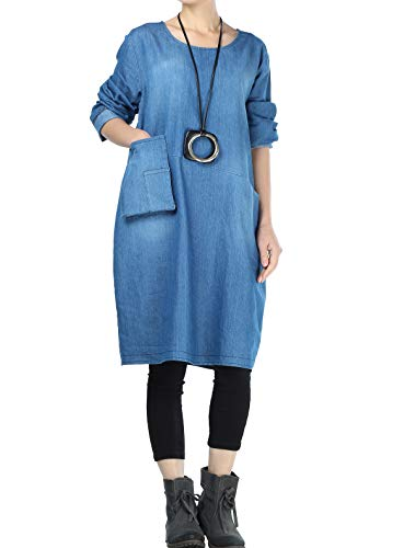 Mallimoda Damen Jeanskleider Langarm Casual Shirt Kleid mit Taschen Blau L