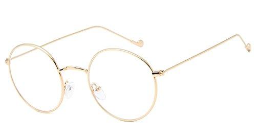 Montura Gafas de para Unisex Hombre y Mujer con Montura de Metal-acero Fino Retro Vintage Lente Transparente Visión Clara