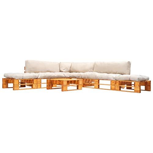 vidaXL Sofá de jardín de Madera, 6 Piezas. Sofá de Esquina para jardín con cojín de Arena y palés, sofá de jardín, Conjunto de Muebles de jardín para Interior y Exterior