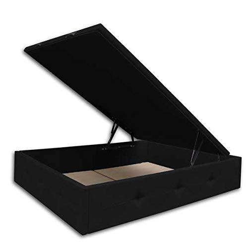 Ventadecolchones - Canapé Abatible París Gran Capacidad Tapizado en Polipiel Negro Medidas 150cm x 190 cm
