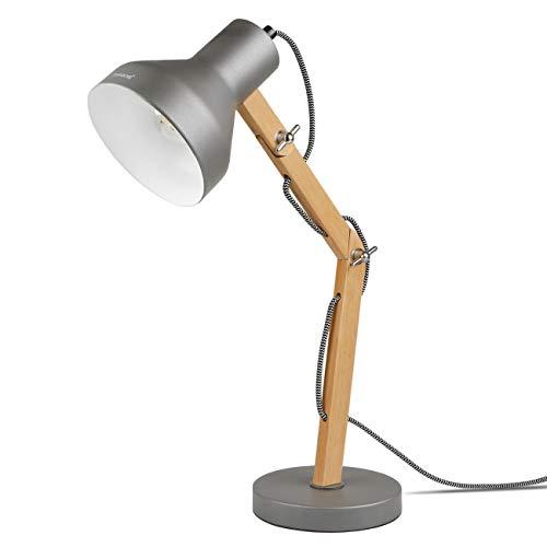 Tomons LED Schreibtischlampe Holz, Verstellbare Tischlampe, Leselampe, Studierlampe, Arbeitslampe, Bürolampe, Nachttischlampe - Grau
