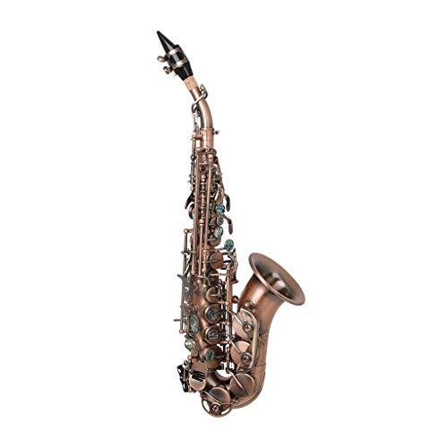 ZHNA-Saxophon BB Sopran Sopran, Profi Red Bronze Bend-Saxophon, Abalone Shell Key Cut-Muster mit Beutel-Handschuhe Gürtel Pinsel